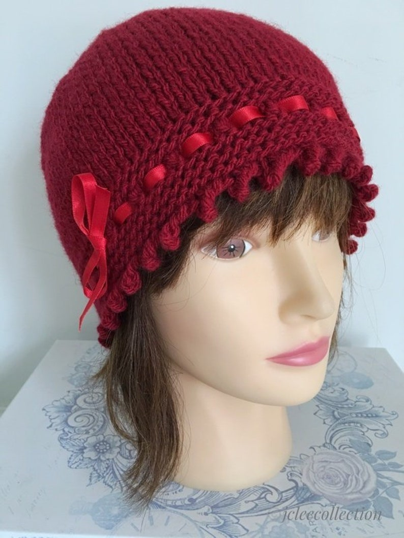 48ac624348a Red Knit Beanie Gatsby Style 1920s Knitted Hat for Women