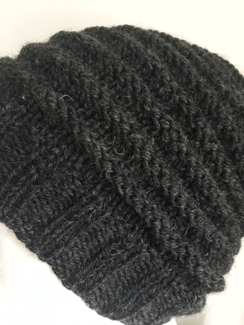 Thick Woolly Textured Winter Autumn Fall Outdoor Hiker Slouchy Beanie Men Pure Wool Anniversary Gifts Guys Chunky Charcoal Hand knit Hat