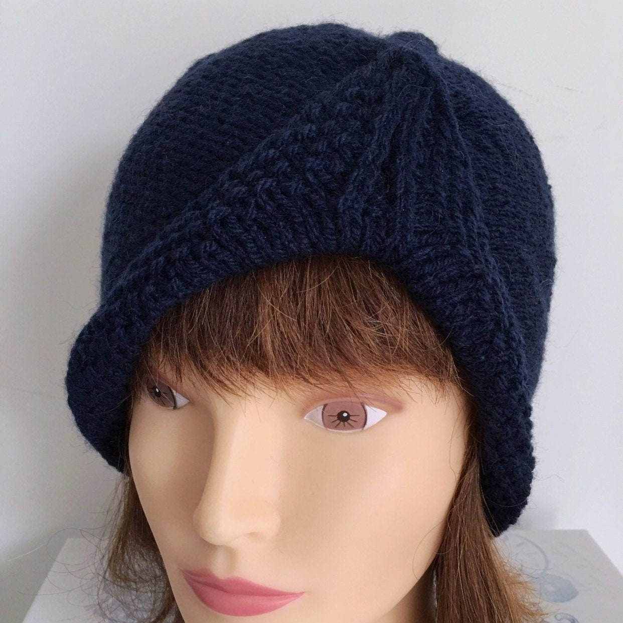 Ladies Blue Turban Beanie Hat Navy 1950s Womens Hat Knitted  366eaf4a050