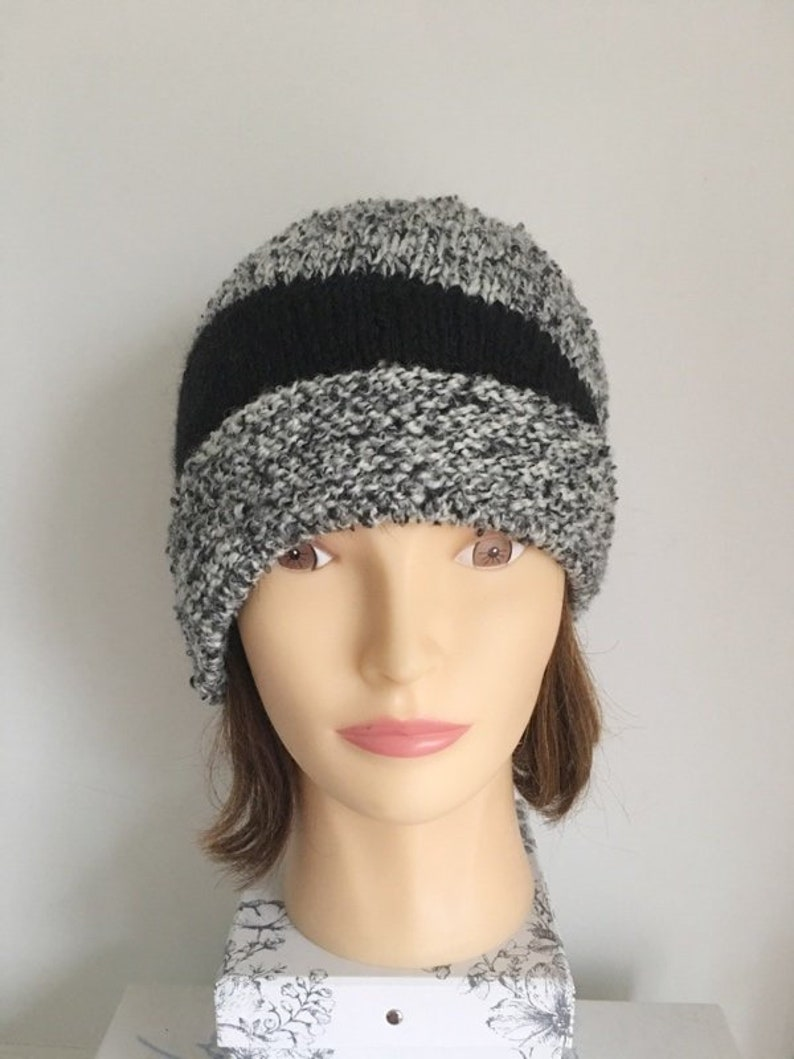 55ded65444b Women s Cloche in Black and White Tweed Hand Knitted