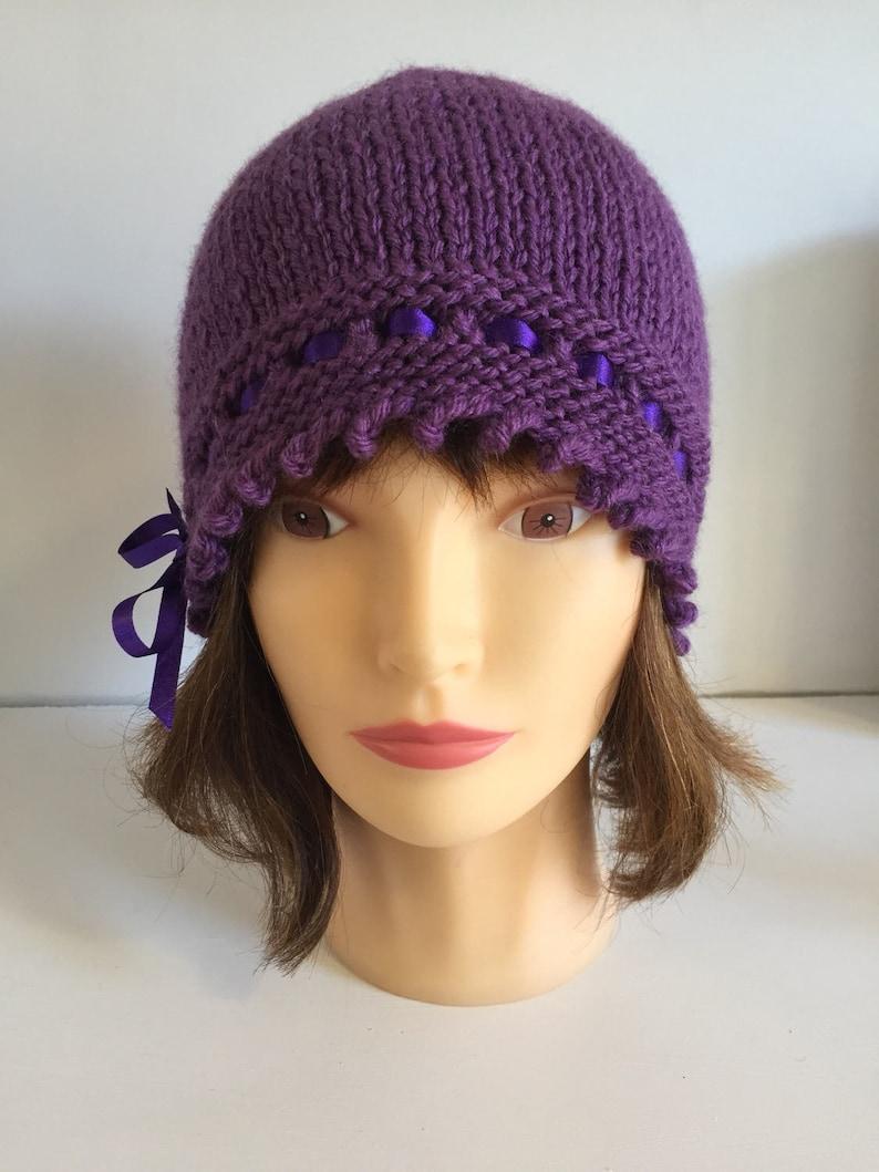 Womens Purple Art Deco Hat Stylish Wool Blend Knitted Winter  4c07bfd357
