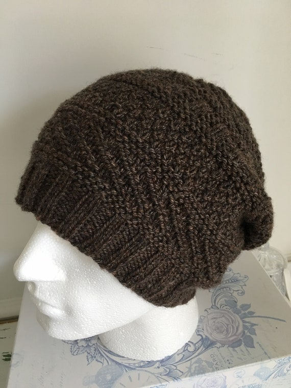 Mens Chocolate Brown Knitted Hat Extra Large XL Mans Beanie  06ed4ab853e