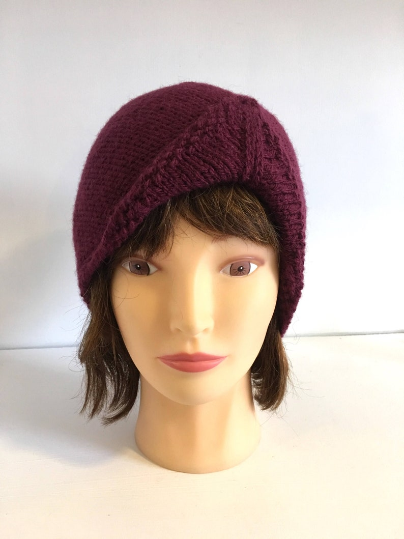 5530e85b84e Turban Style Beanie Dark Red Burgundy Skull Cap 1920s Look