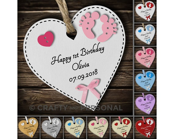 Personalised Babys First 1st Birthday Gift Heart Plaque