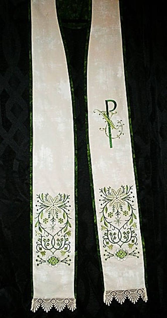GREEN & WHITE Embroidered Stole #144 by Rosemary St. Clair