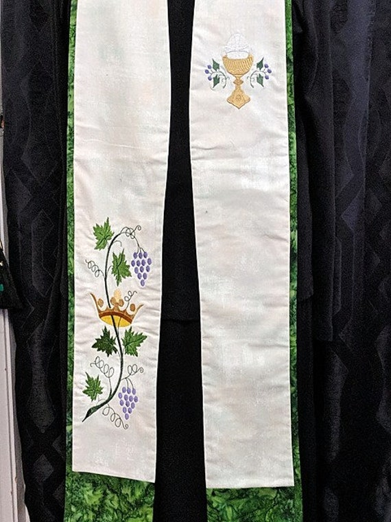 GREEN and WHITE STOLE #113 by Rosemary St. Clair