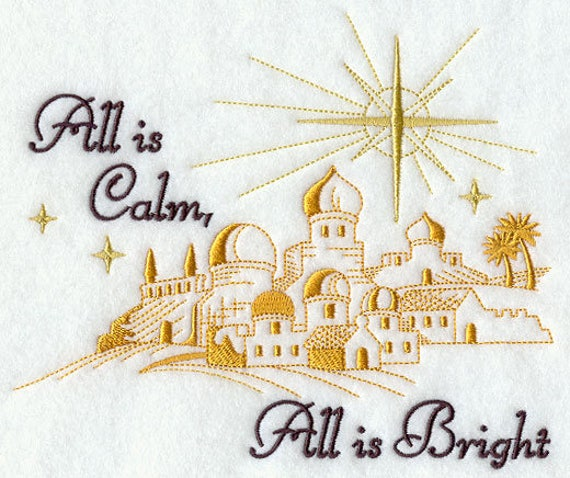 ALL IS CALM  embroidery on  Sweatshirt by St. Clair Vestments