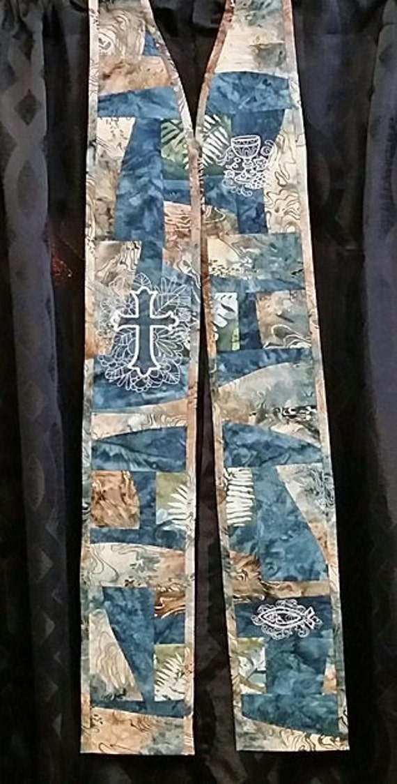 TEAL CURVED PIECE Patchwork Stole # 154
