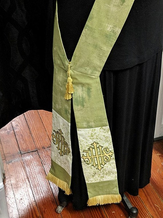 GREEN IHS DEACON'S Stole #140 by Rosemary St. Clair
