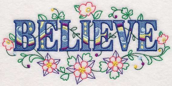 BELIEVE embroidery on Tee or Sweatshirt by St. Clair Vestments