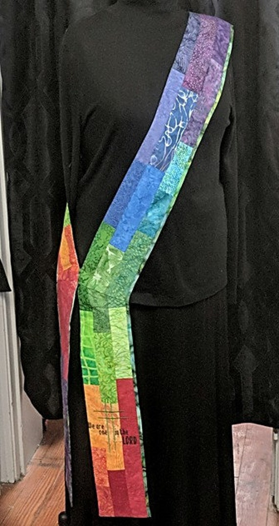 MULTI PATCHWORK DEACON'S Stole # 123 by Rosemary St. Clair