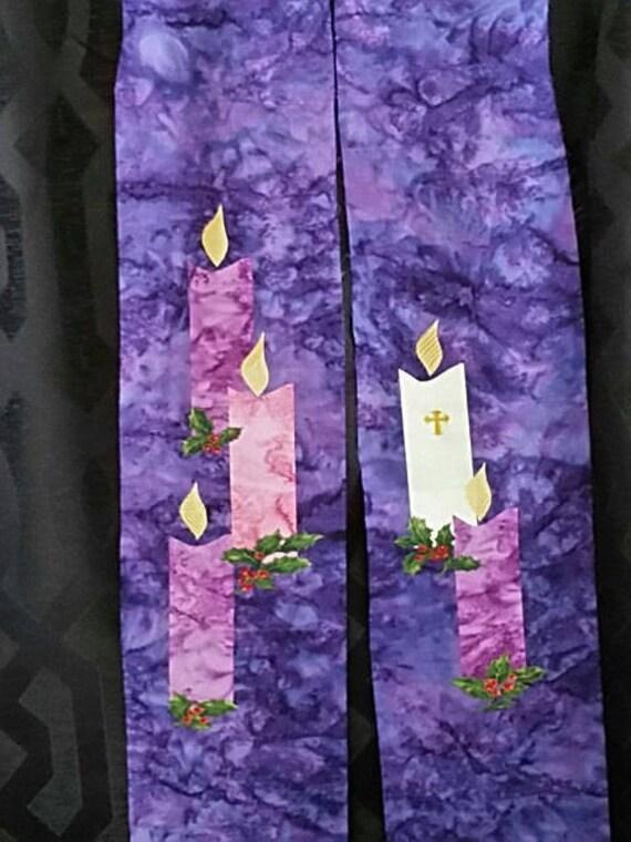 REVERSIBLE Lenten/Advent Stole #655R on Purple Batik