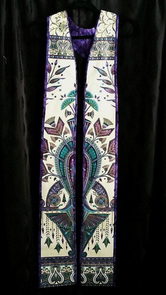 PURPLE Art Deco #1 REVERSIBLE  ADVENT Stole #581 by Rosemary St. Clair