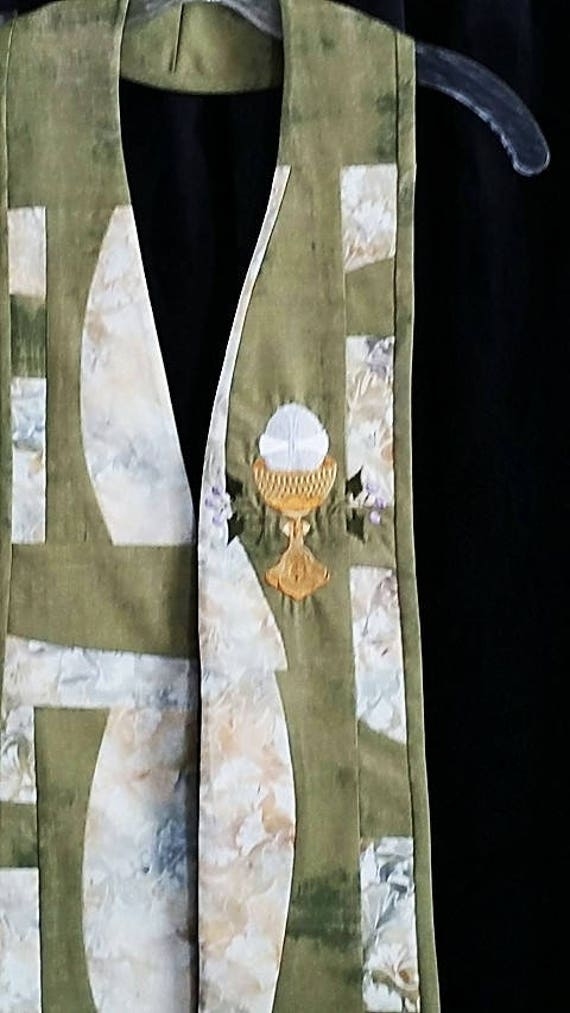 GREEN PATCHWORK  STOLE #148  by Rosemary St. Clair