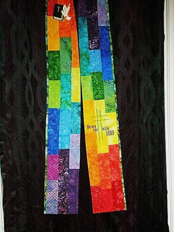 BRIGHT PATCHWORK Stole #150  by Rosemary St. Clair