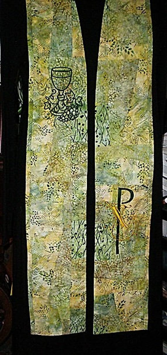 GREEN & GOLD Print Patchwork REVERSIBLE Stole  #116R  by Rosemary St. Clair