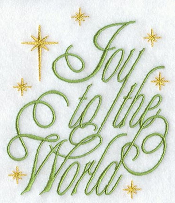 JOY TO The  WORLD #2 embroidery on  Sweatshirt by St. Clair Vestments