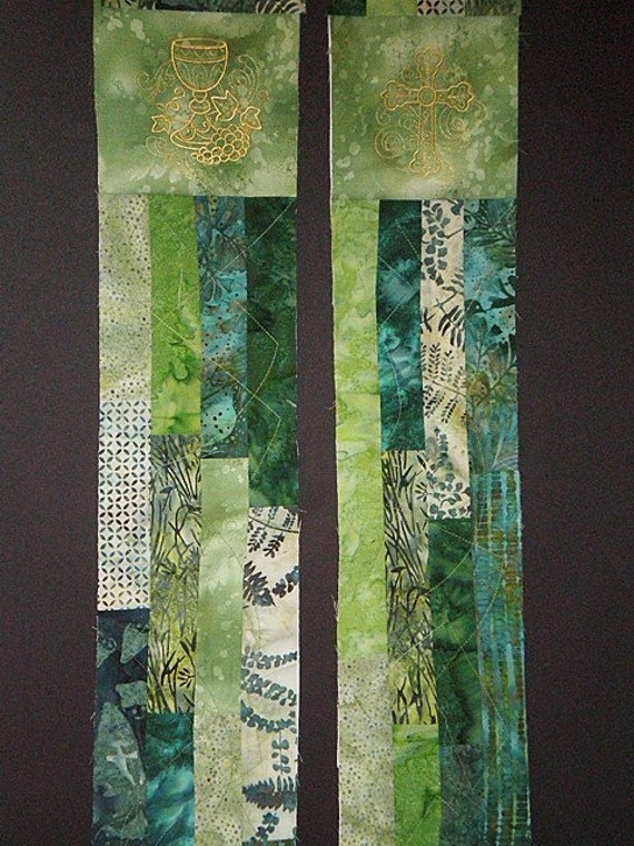 GREEN Batik Patchwork Stole  # 111 by St Clair Vestments