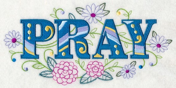 PRAY EMBROIDERY on  Tee or Sweatshirt by St. Clair Vestments