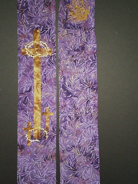 LENTEN STOLE in Vine Print #546  by Rosemary St. Clair