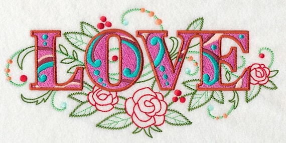 LOVE embroidery on  Sweatshirt by St. Clair Vestments