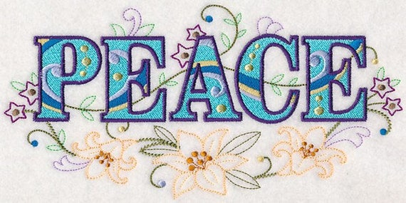 PEACE EMBROIDERY on  Sweatshirt by St. Clair Vestments