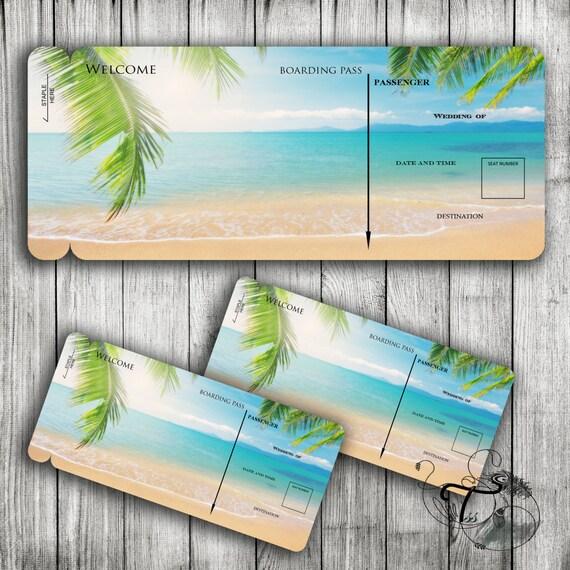 Bordkarte Reisen Printable Hochzeit Vorlage Ziel tropischen | Etsy