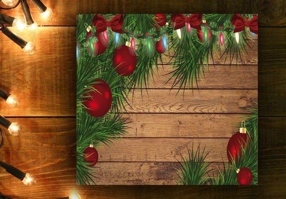 Christmas Wood Background.Christmas Digital Paper Background Wooden Background Christmas Lights Tree Balls Fir Branches Red Balls Green Branches