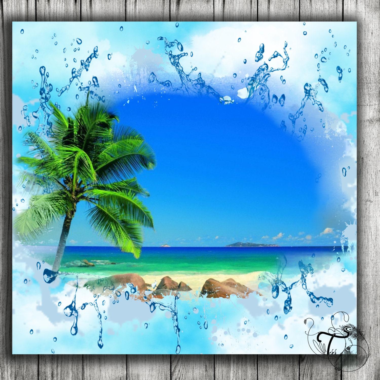 Isla tropical Digital papel playa isla textura Patten papeles ...