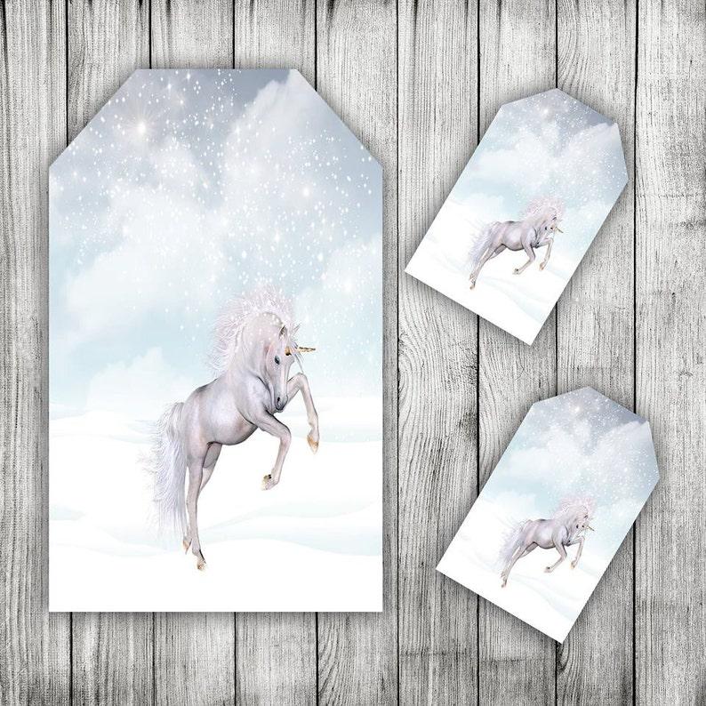 Tag Stampabile Natale Sfondo Inverno Scena Unicorno Snowdrift Etsy