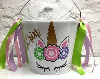 Unicorn Easter Pail ~ Unicorn Party Favor ~ Unicorn  Basket ~ Custom Easter Bucket ~ Gift Basket ~ Name Bucket ~ 5 Quart Pail