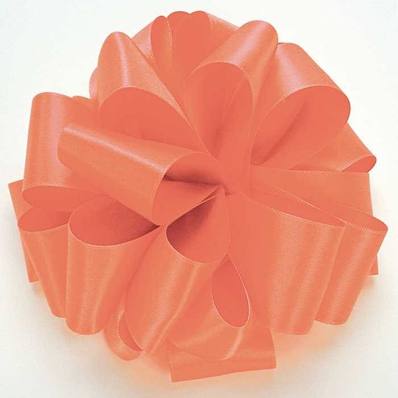 Coral Satin Ribbon Ribbon By The Yard Coral Double Faced