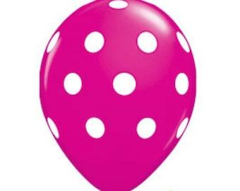 Hot Pink Polka Dot Latex Balloons ~ Latex Balloons ~ Party Balloons