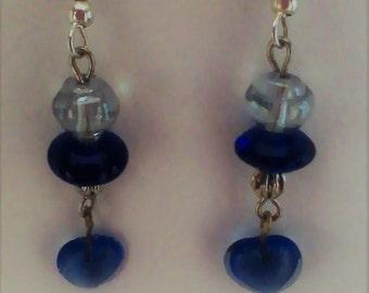 Blue Bead & Heart Earrings