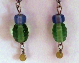 Blue, Green & Yellow Earrings