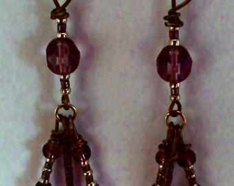 Purple Seed Bead Earrings