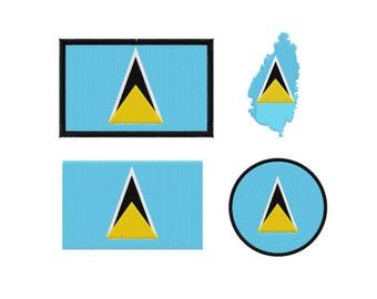 Saint Lucia Flag Machine Embroidery Design