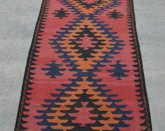 Size:3.3 x 13.6 feet Vintage Afghan Tribal Large Nomadic Turkomen Kilim Runner