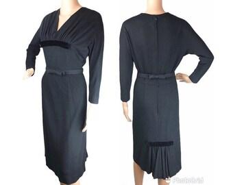 1950s-60s Hannah Troy Navy Wool Day Dress  50s Dress  50s Daywear  Wool Dress  Hourglass Dress  Small