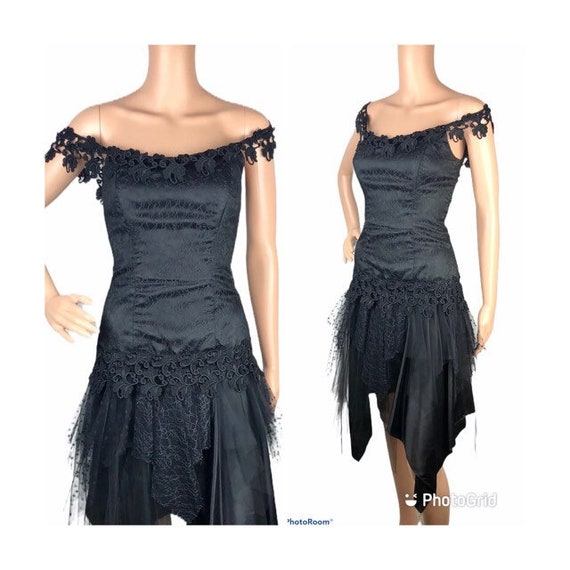 Loralie Originals Black Lace Tulle Dress Cocktail