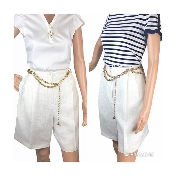 Loyds Exclusive Linen White High Waisted Shorts Be