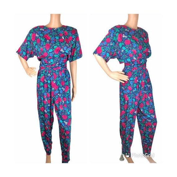 1980s Blue Floral Jumpsuit Sm-Med