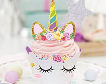 Unicorn Pretty Girl's Birthday Party Cupcake Toppers 24PC Party Favor