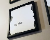 Modern Verre Eglomise Wall Mirror with Writing in a Black Float Frame - 11x14 - Personalized Gift