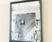 Rectangular Mirror, Vintage Frame, Gilded Glass, Wall Decor, Silver Leaf, Wall Mirror, Distressed Mirror, Teen Bedroom Decor, Mirror