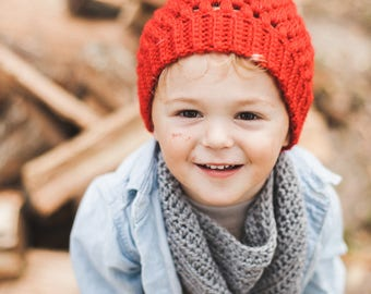 Buttoned Cowl--Gray--Child