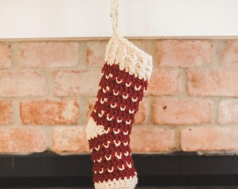 Crochet Christmas Stocking--Red and Cream