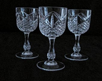 Three Vintage Lead Crystal Glasses, Size 4.1/4 Inch for liqueur.