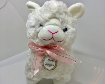 Cuddly Lamb with Flower Girl Charm