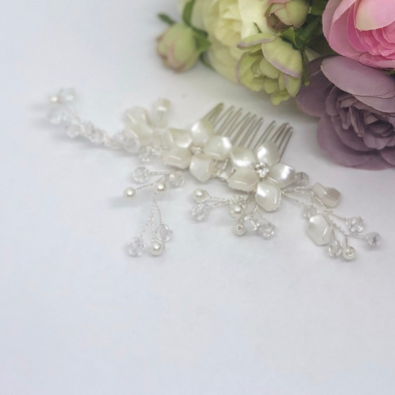 PHILLY Crystal /& Pearl Flowers Wedding Bridal Hair Comb